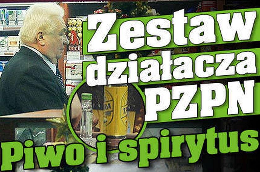 Zestaw działacza PZPN. Piwo i spirytus