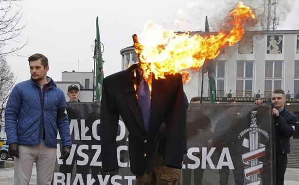 Spalenia kukły - z twarzą ze zdjęciem posła Ryszarda Petru - dokonała na placu przed Teatrem Dramatycznym grupa działaczy Młodzieży Wszechpolskiej.