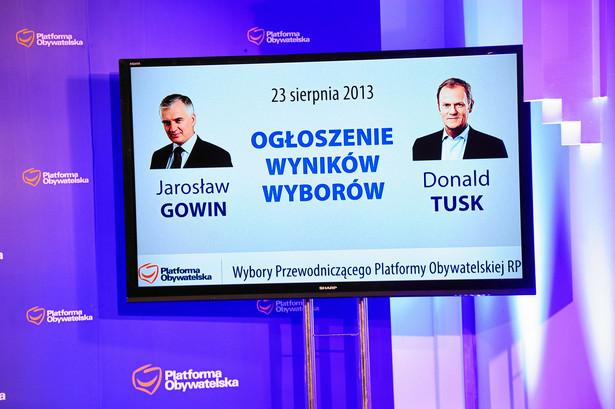 Ogłoszenie wyników wyborów na przewodniczącego PO.