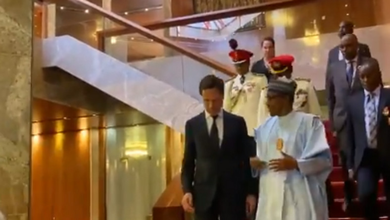 Image result for images of Buhari receives Prime Minister of Netherland, Mark Rutte