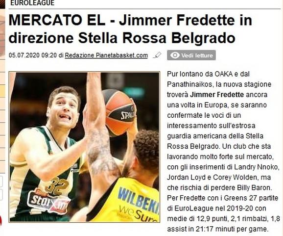Objava italijanskog košarkaškog portala o pregovorima Zvezde i Fredeta