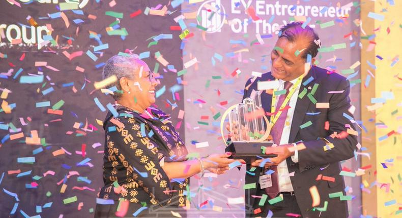 File image of First Lady Margaret Kenyatta being awarded the prestigious Eastern Africa Lifetime Achievement Award