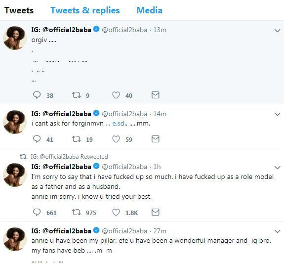 2face idibia went to post a series of tweet about his wife and their relationship, speculating cracks in their marriage [Twitter/Offcial2Baba]