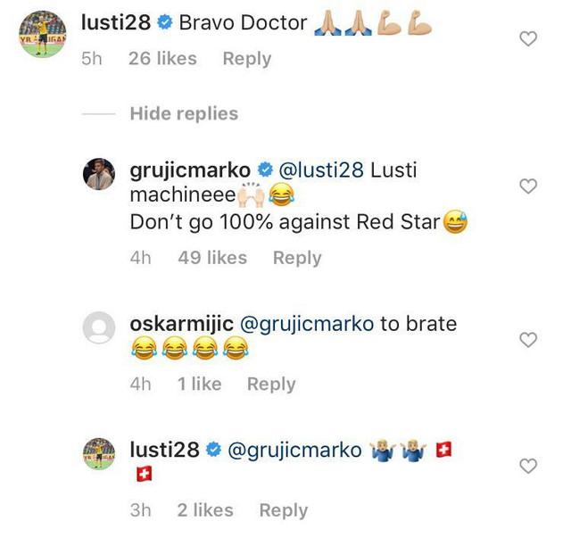 Prepiska Lustiga i Grujića na instagramu