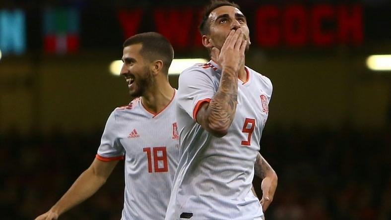 Spain's striker Paco Alcacer celebrates scoring the opening goal against Wales