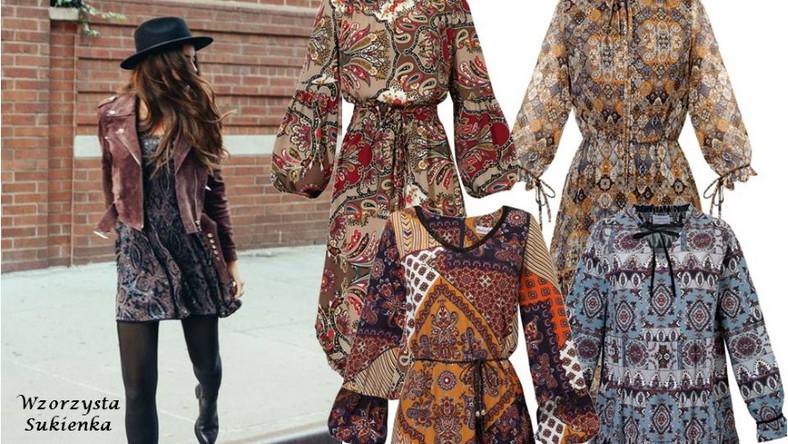 """Jesienią nie rezygnujmy ze wzorów i kolorów. Krata, grochy albo kwiaty- one wszystkie są mile widziane i jak najbardziej w trendach, jednak my polecamy wam wzory etno. Należą do nich azteckie lub afrykańskie wzory, ale także geometryczne zdobienia. Najbardziej charakterystyczna w stylu etno jest feria barw. Im więcej kolorów na sukience tym lepiej. Sukienka, która jest bogata w tyle wzorów i kolorów, musi grać w stylizacji pierwsze skrzypce, dlatego najlepiej """"uspokoić"""" stylizację podstawowymi, stonowanymi elementami jak np. botki lub kozaki i klasyczny płaszcz."""