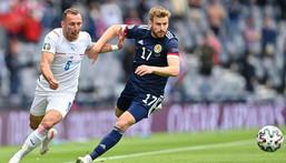 Scotland midfielder Stuart Armstrong (R) Creator: Paul ELLIS
