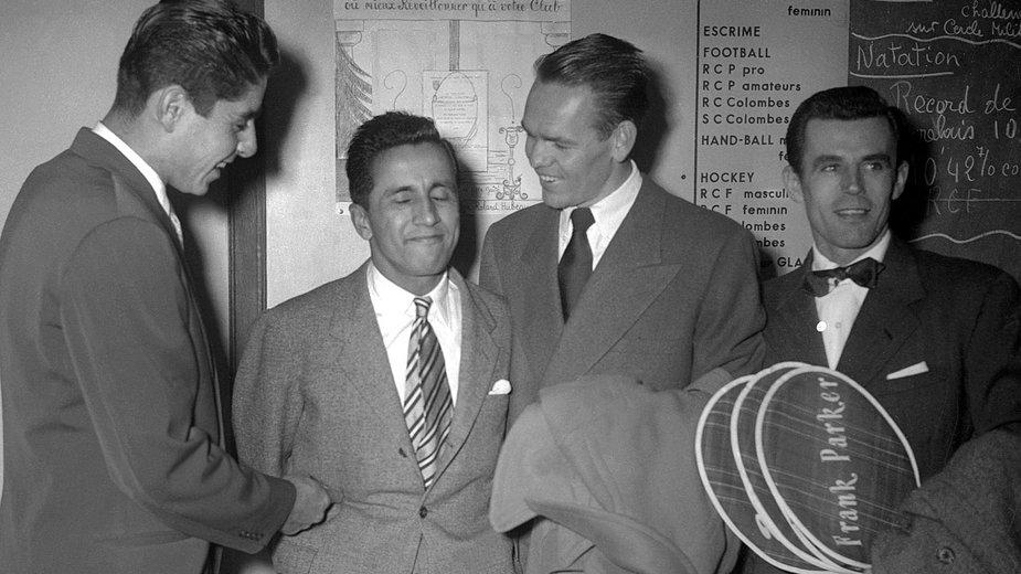 "Ricardo ""Pancha"" Gonzales, Pancha Segura, Jack Kramer i Frank Parker"
