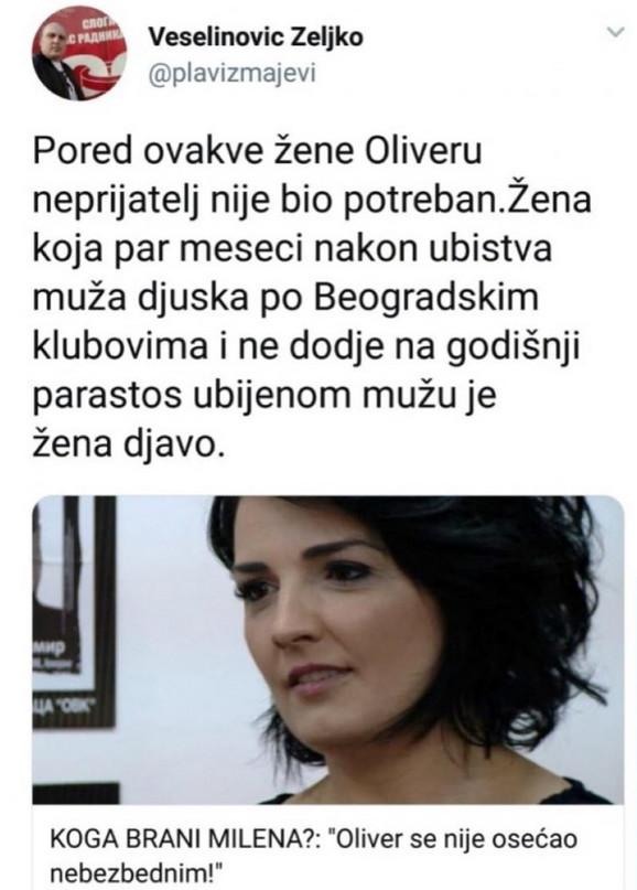 Status na Tviteru kojije objavio, pa obrisao Željko Veselinović