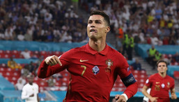 Cristiano Ronaldo celebrates after his record-equalling goal Creator: BERNADETT SZABO