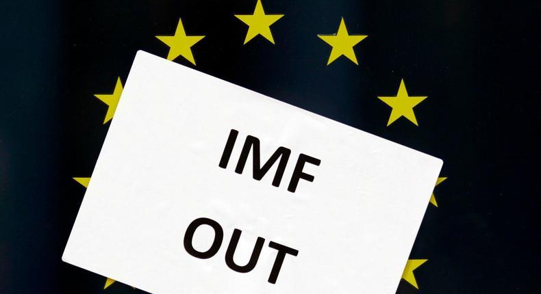 Anti-IMF poster on a window in Dblin.