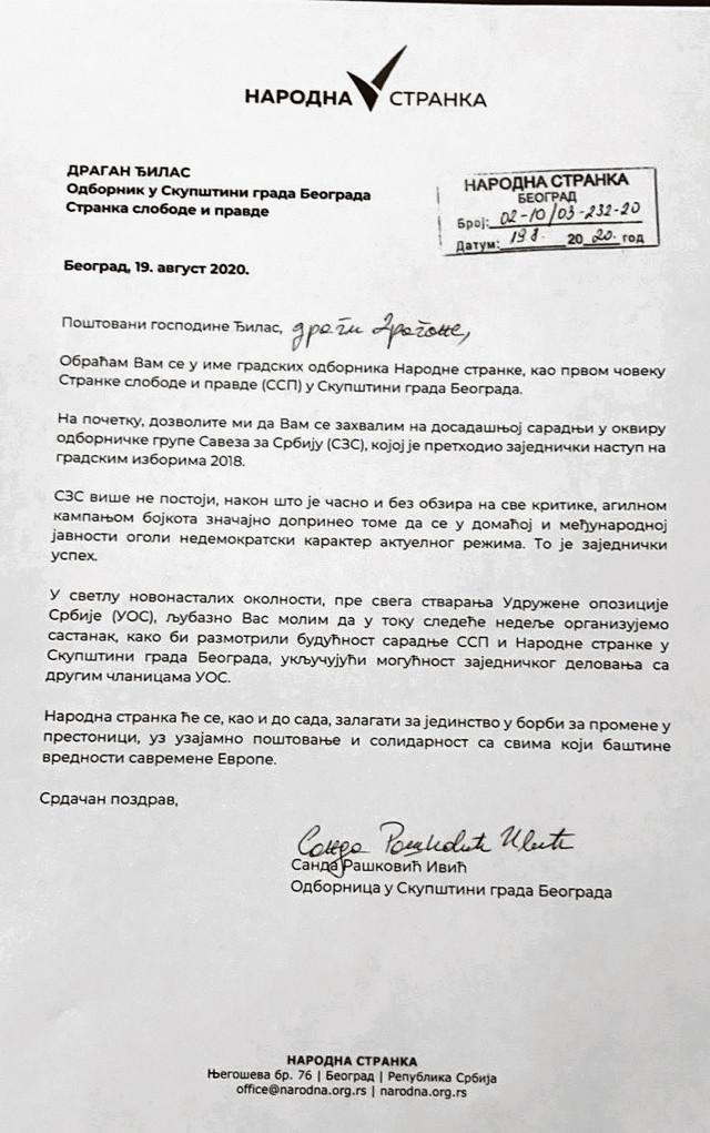 """U pismu stoji da je NS za saradnju """"sa svima koji baštine vrednosti savremene Evrope"""", iz čega se može zaključiti da tu nema mesta za Nikolu Jovanovića"""