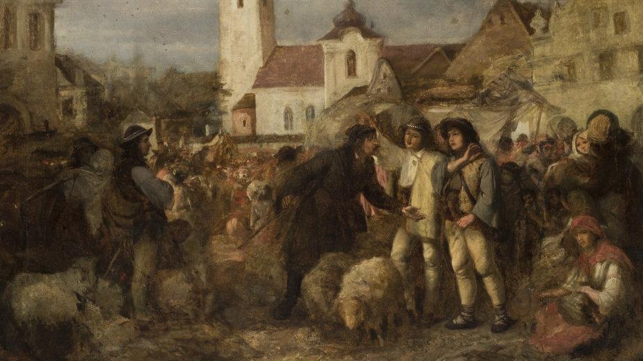"""Aleksander Kotsis, """"Targ w Nowym Targu"""" (przed 1860)"""
