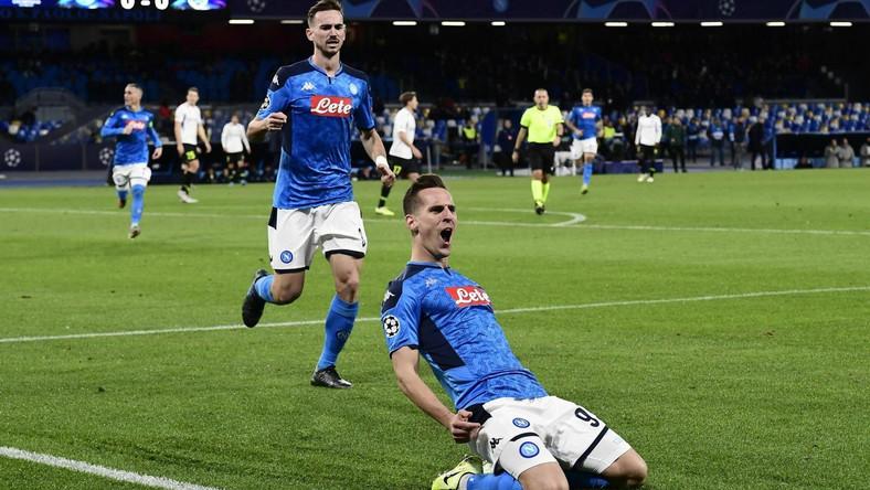 Radość Arkadiusza Milika po strzelonym golu dla Napoli
