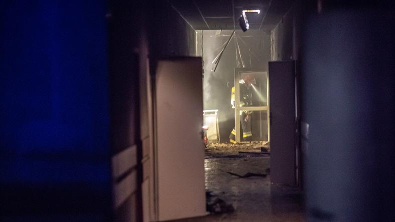 Pożar w hospicjum, straż pożarna na miejscu
