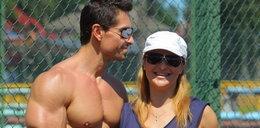 Kasia Skrzynecka ćwiczy z mężem