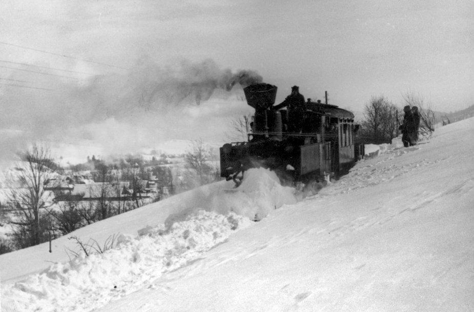 Kolejka wąskotorowa w Bieszczadach, 1940 r.