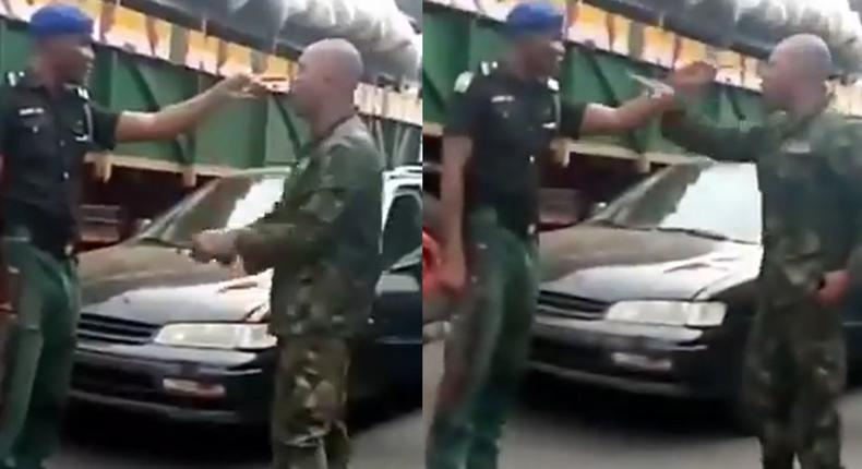 """""""Am I your mate? Is my rank your rank? – Angry soldier and police clash over seniority (video)"""