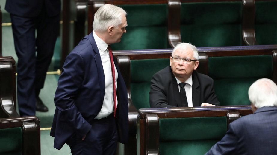 (od lewej) Jarosław Gowin i Jarosław Kaczyński. 6.04.2020 r.