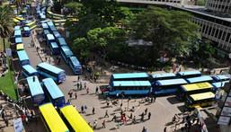 Matatus on Nairobi's Moi Avenue where Kencom and Ambassador stages are