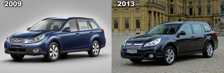 2009: debiut modeli; 2013: nieco zmieniona stylistyka Outbacka.