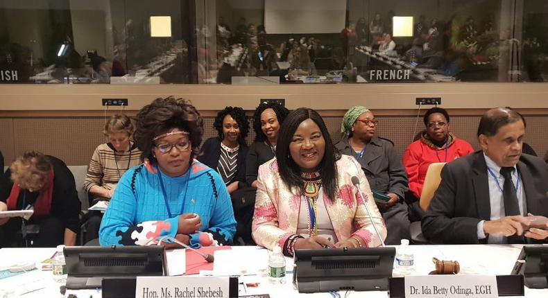 Mama Ida Odinga with CAS Rachel Shebeesh at the CSW conference
