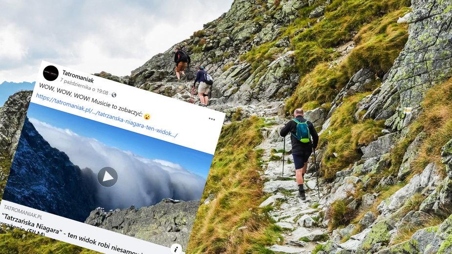 """""""Niagara"""" w Tatrach. Wyjątkowe zjawisko uwiecznione na nagraniu (fot. Facebook/Tatromaniak)"""
