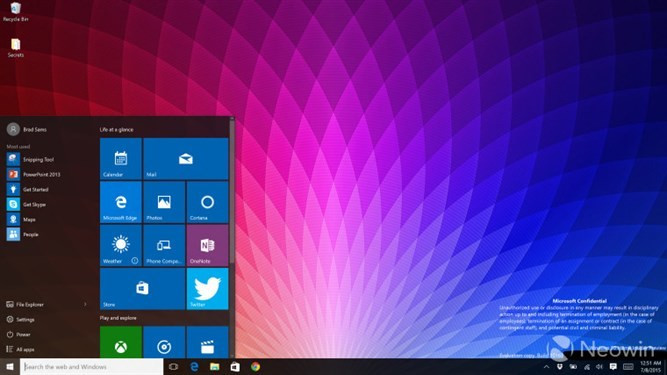 Windows 10 Pro Insider Preview build 10163