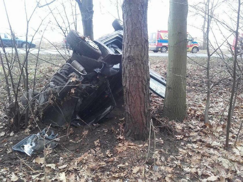 18-letni kierowca wypadł z drogi i rozbił się o drzewa