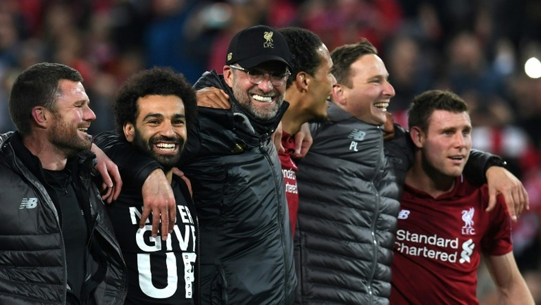 Liverpool manager Jurgen Klopp (centre) hopes to have Mohamed Salah (second left) fit for Sunday's Premier League finale against Wolves