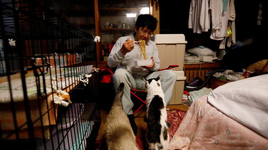 57-letni Sakae Kato w ciągu ostatniej dekady opiekował się ponad setką kotów.