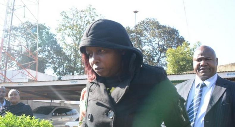 Citizen TV Jacque Maribe after recording her statement at a police station