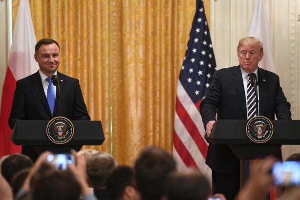 Prezydent Stanów Zjednoczonych Ameryki Donald Trump oraz prezydent RP Andrzej Duda podczas konferencji prasowej po spotkaniu w Białym Domu.