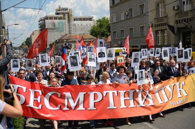 Svecani mars povodom proslave Drzavnog praznika Dan pobede nad fasizmom u Drugom svetskom ratu.