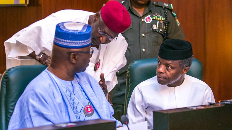 Secretary to the Government of the Federation, Boss Mustapha (left); President Muhammadu Buhari's Chief of Staff, Abba Kyari (middle); and Vice President, Yemi Osinbajo (right) at the Federal Executive Council (FEC) meeting at the Presidential Villa on Wednesday, December 13, 2017 (Presidency)