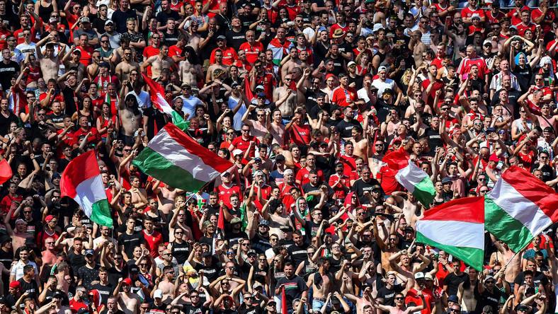 Kibice reprezentacji Węgier podczas meczu z Francją