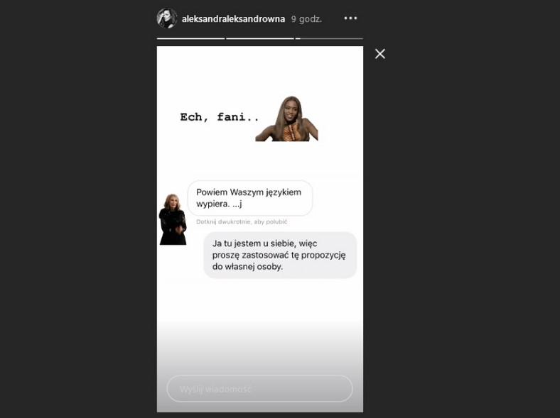 Widok InstaStories z profilu Aleksandry Kwaśniewskiej