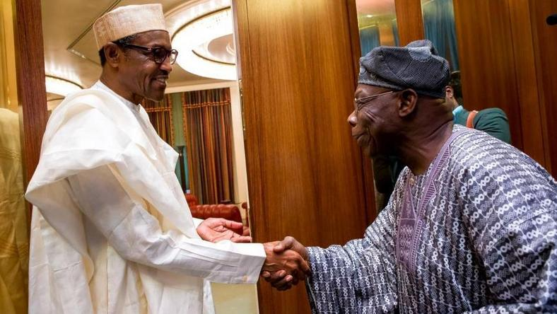 President Muhammadu Buhari meets with former president, Olusegun Obasanjo in Abuja on April 7, 2016