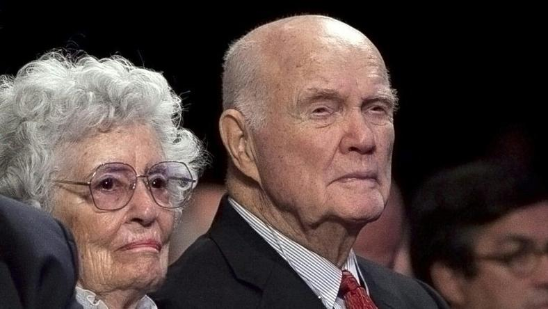 Retired astronaut and US Sen. John Glenn, seen in 2012 with his wife Annie Glenn, had been admitted more than a week ago to the James Cancer Hospital at Ohio State University