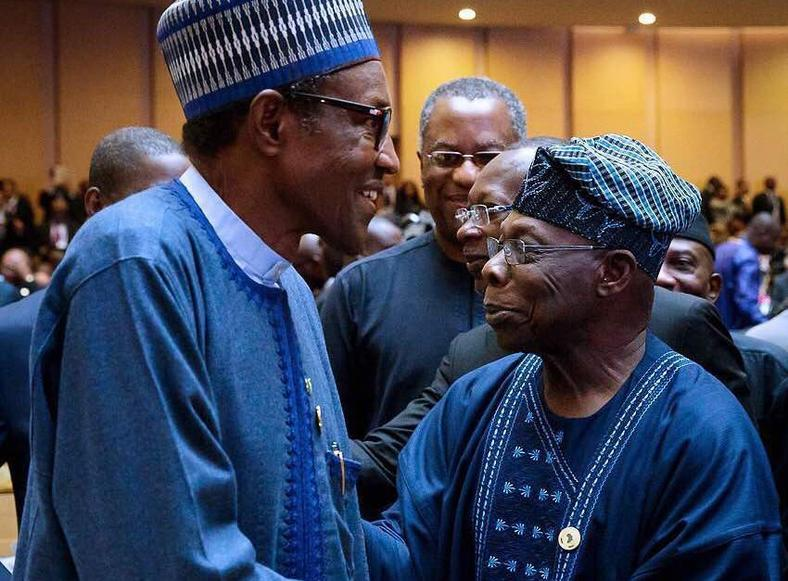 president muhammadu buhari and former president olusegun obasanjo at the au summit in addis ababa
