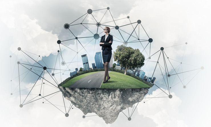 Poalovi, stock-photo-elegant-businesswoman-on-flying-green-island-floating-in-blue-sky-714820336