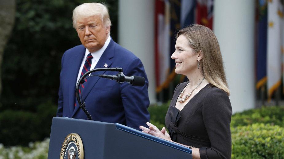 Amy Coney Barrett podczas ogłoszenia przez Donalda Trumpa nominacji do Sądu Najwyższego USA