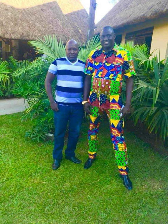 Lual Malong Jr in a kitenge jumpsuit days after being released from custody