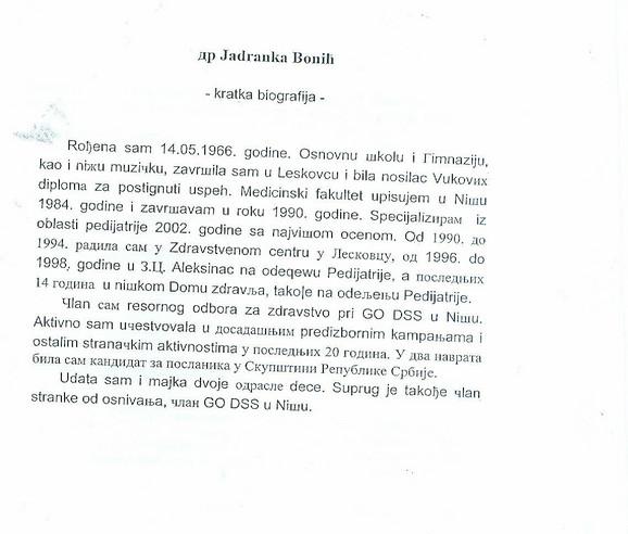 Biografija Jadranke Bonić: Ne odriče se ni jednog pisma ( Kliknite za uvećanje +)