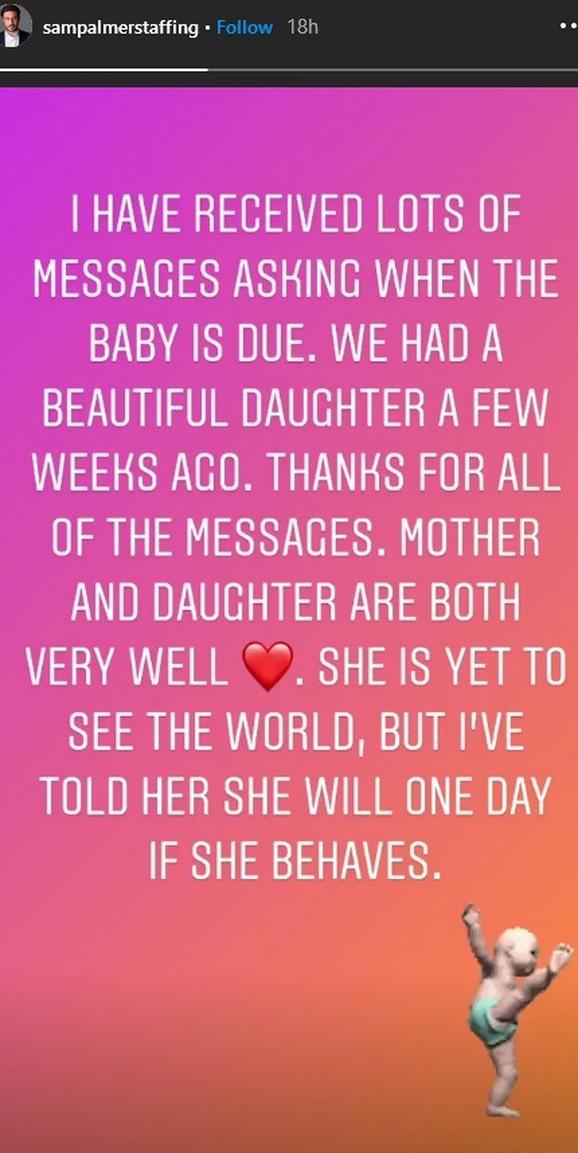 Sem Palmer - objava o rođenju ćerke