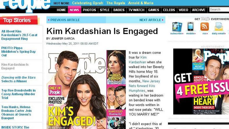 """O zaręczynach pięknej Kim poinformował magazyn """"People"""""""