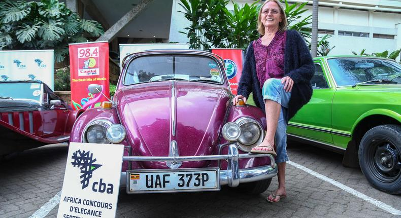 Leslie carvell pose for a photo with her 1970 VW Beetle. Percy-9277during the pressbriefing of the 2019 Concours D'elegance.This was held at Sarova Panafric hotel Nairobi.