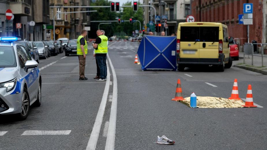 Katowice: miejsce wypadku, w którym zginęła 19-letnia kobieta