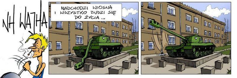 Obraz nawiązuje do czołgu, który stoi na osiedlu Górali