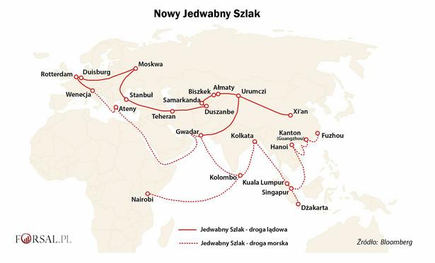 """Plan chińskiego prezydenta Xi Jinping, aby ożywić starożytną drogę handlową łączącą Państwo Środka, Azję Centralną i Europę, przekształcił się w rozległą kampanię na rzecz rozwoju światowego handlu i wzrostu gospodarczego. Nowy Jedwabny Szlak, znany też pod nazwą """"Jeden Pas Jedna Droga"""" (""""Belt and Road Initiative"""", czyli BRI) łączy Azję i Europę zarówno szlakami lądowymi, jak i droga morską. Plan zakłada utworzenie sieci korytarzy transportowych między Chinami i Unią Europejską. W skład tych połączeń mają wchodzić drogi, kolej (w tym Kolej Dużych Prędkości), połączenia morskie oraz lotnicze, a także sieć przesyłowa paliw (rurociągi) i infrastruktura telekomunikacyjna."""